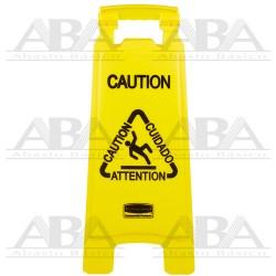 """Señal de piso Multilingual """"Caution Wet Floor"""" 2 caras FG611277"""