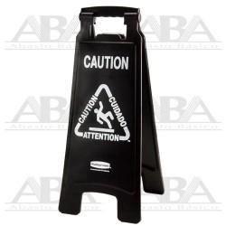 """Señal de piso Multilingual Executive Series® """"Caution"""" 2 caras Negro 1867505"""