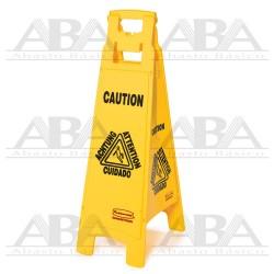 """Señal de piso Multilingual """"Cuidado"""" 4 caras FG611400"""